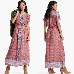 Lucky Brand Boho Tapestry Print Maxi Dress Pocket